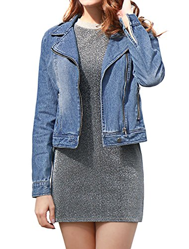 Allegra K Women's Notched Lapel Asymmetric Zip Moto Denim Jacket M Blue