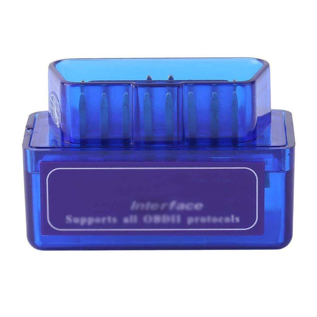 Ogquaton Mini Port/átil ELM327 V2.1 OBD2 II Bluetooth Coche de Diagn/óstico Auto Interface de Esc/áner Azul Premium ABS Herramienta de Diagn/óstico Durable