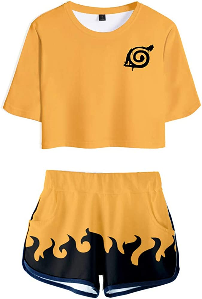 Gumstyle Anime Naruto Women Girls Crop Top and Shorts Two Piece Outfit Sets