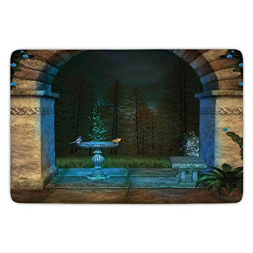 Bathroom Bath Rug Kitchen Floor Mat Carpet,Gothic,Forest Landscape from Ancient Archway Birds on Fountain Fairytale Illustration,Blue Grey Green,Flannel Microfiber Non-slip Soft Absorbent by iPrint