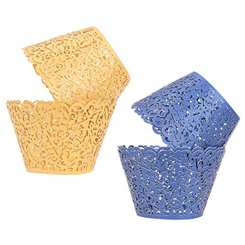 YoungRich 60PCS Cupcake Wrappers Lace Cut Filigree Cupcake Wraps Liners Cupcake Wrappers Rustic Cake Muffins Wrapping Paper for Wedding Christening Anniversary 8x5x5 cm Gold Navy Blue