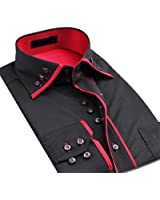 Mens Italian Shirts Double Collar Slim Fit Casual Button Down Shirt