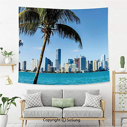 SoSung Coastal Decor Wall Tapestry,Miami Downtown with Biscayne Bay Buildings and Palm Tree Panoramic,Bedroom Living Room Dorm Wall Hanging,80X60 Inches,Sky Blue Aqua Green -
