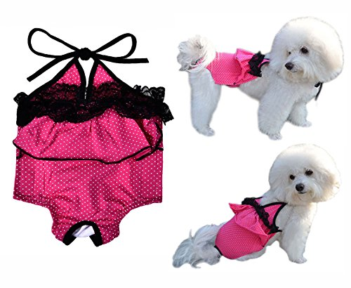 Swimming Chihuahua Costume (Loobani Dog Puppy Diaper Sanitary Pants, Polk Dot Bathing Dress Suspenders, Halloween Holiday Costumes Sexy Bikini Shirt With Black Lace)