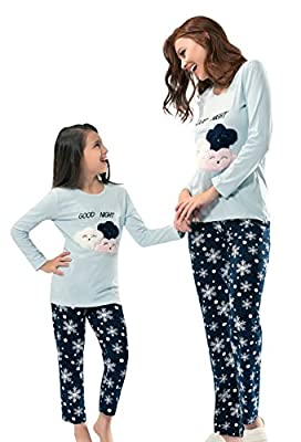 NBB Matching Women and Girls Christmas Cotton Clouds and Snowflakes Navy Pajamas Set