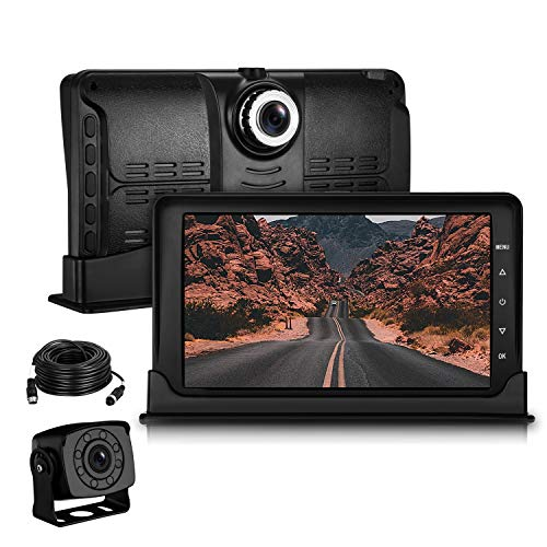 (Leekooluu Backup Camera High-Speed Observation DVR System for RV/Trucks/Bus/Van/Trailer 7 Inch 1080P FHD Front Lens with G-Sensor,Motion Detection&Loop Recording,IP 69K Waterproof Night Vision)