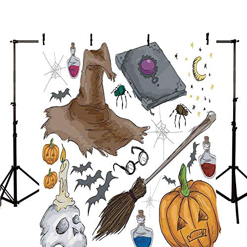 Halloween Decorations Stylish Backdrop,Magic Spells Witch Craft Objects Doodle Style Grunge Design Candle Skull for Photography,59