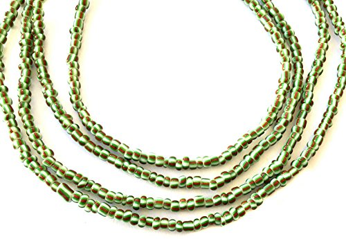 Ghana Green multi stripes waist seed Beads Glass African Trade Beads - Strand of Fair Trade Beads from - Beads Trade African