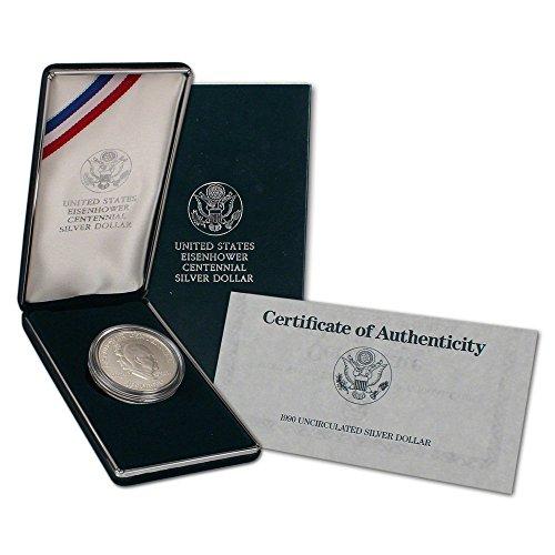 - 1990 P US Eisenhower Ike Centennial Silver Dollar Grade Proof