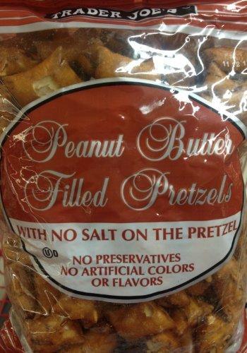 Artificial Butter - 4 x 16oz Trader Joe's Peanut Butter Filled Pretzels with No Salt on the Pretzel (4 Pounds Total) No Preservatives No Artificial Colors or Flavors
