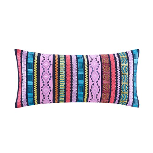 Discount Josie by Natori Katina Cotton Corduroy Embroidered Bohemian Stripes Oblong Pillow 10x22 - Hidden Zipper For Easy Care free shipping