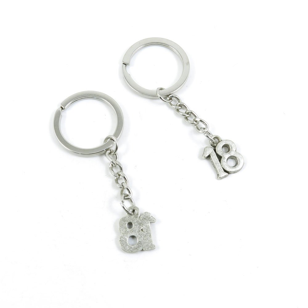 100 Pieces Keychain Door Car Key Chain Tags Keyring Ring Chain Keychain Supplies Antique Silver Tone Wholesale Bulk Lots B1XU2 Number Numeral 18