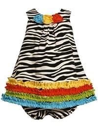 Bonnie Jean Baby Girls Zebra Knit Print Rusching Dress, Black / White, 6-9 Months