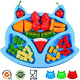SJ Baby Placemat Fox Silicone Placemat Feeding Plate for Children, Kids, Toddlers, Non-Slip Baby Plates, Dishwasher and Microwave Safe - Soft FDA/LFGB Certified Silicone (Blue)