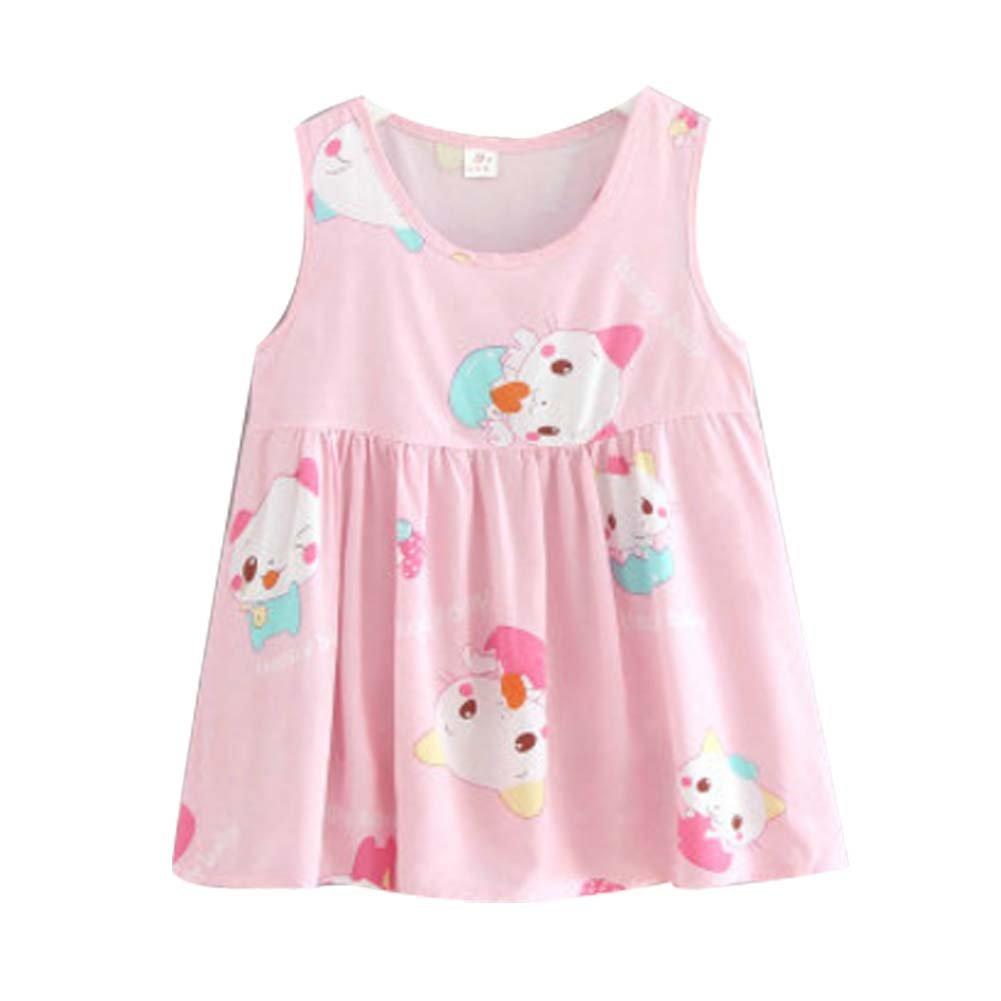 Koala Superstore [Z] Kids' Pajama Home Nightdress Sleeveless Cotton Dress Vest Skirt for Girls