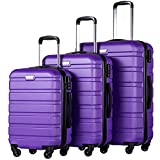 Coolife Luggage 3 Piece Set Suitcase Spinner Hardshell Lightweight (purple2)