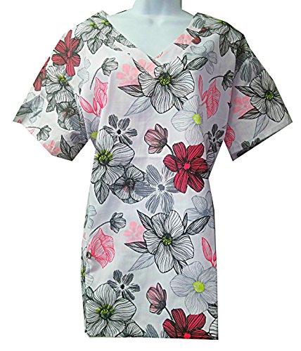 Zikit NY Women's Printed Nursing Medical Scrub Top Plus Sizes XS-4X (Plus 2X, Pink White)