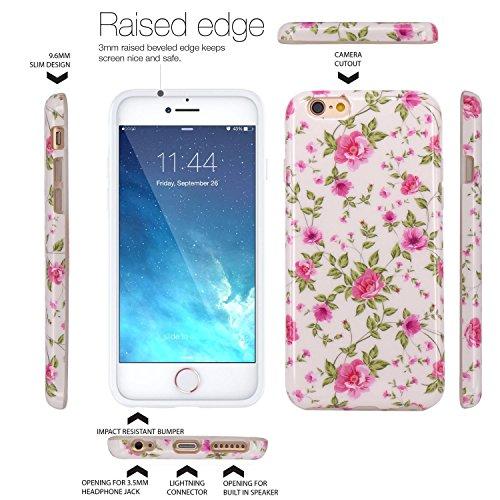 iPhone 6 Hülle, LOVONKI Rosa Azalee Serie Flexible TPU Silikon Schutz Handy Hülle Handytasche HandyHülle Etui Schale Case Cover Tasche Schutzhülle für iPhone 6 6S
