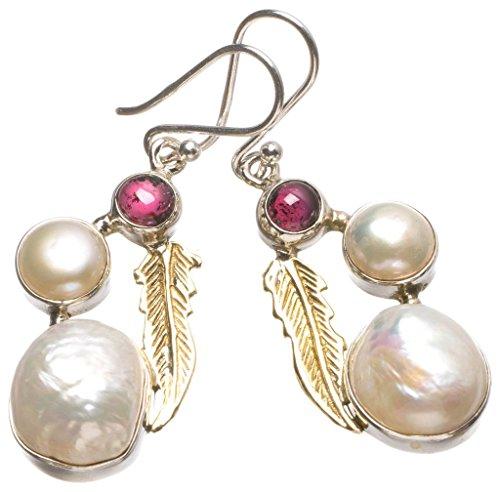 Earrings Honora Pearl (Natural Two Tones Biwa Pearl,River Pearl and Amethyst 925 Sterling Silver Earrings 1 3/4