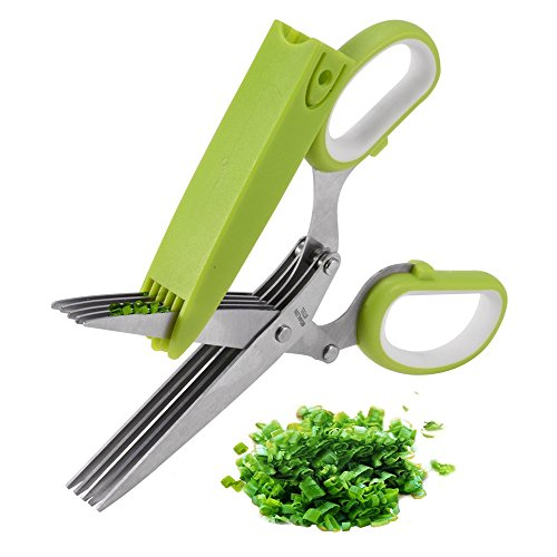 Herb Scissors, X-Chef Multipurpose 5 Blade Kitchen Cutting Shear with Safety Cover and Cleaning Comb