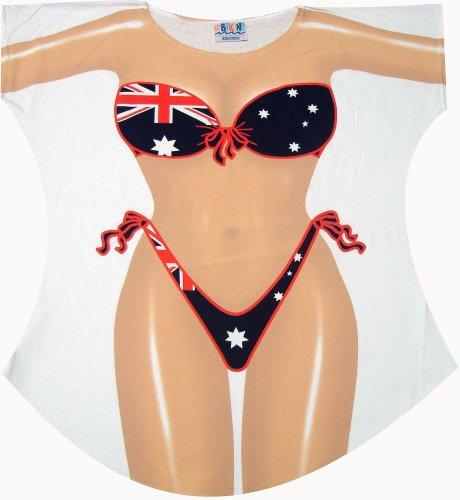 Australian Flag Bikini Swimwear Cover Up T-Shirt Lady's Fun Wear, Regular (One Size Fits Most)