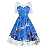POTO Christmas Dresses for Women,Ladies Vintage Gown Lace Patchwork Printed Evening Party Dress Prom Swing Dresses
