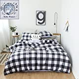 BuLuTu Lattice Print Cotton Queen Bedding Cover Set Black and White With 2 Pillowcases Soft Reversible Grey Kids Bedding Collections Full For Teen Boys Girls Zipper Closure
