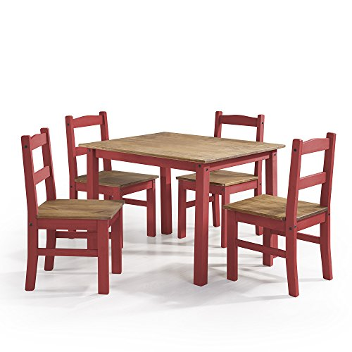 - Manhattan Comfort York Collection Reclaimed and Modern 5 Piece Pine Wood Dining Set with 4 Chairs and 1 Table, Red/Wood