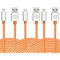 iphone 6S charger, 10 Ft Long 3 Pack, F-color Apple MFi Certified 8 Pin Lightning Charger to USB Cable Cord for iPhone 6S 6 Plus 5 5S 5C, iPhone SE, iPad Air 2 iPad Pro, iPad Mini 4, Orange 3 Meter