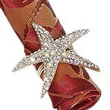 Joyindecor - Juego de 6 servilleteros de Vidrio con Forma de Estrella de mar para decoración de Bodas, Fiestas y mesas de Playa