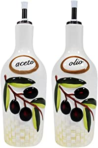 GHA (Oil And Vinegar Dispenser Set) Tuscan Olive Accessories Ceramic Italian Decor for Kitchen Home Bakery Restaurant, One Size