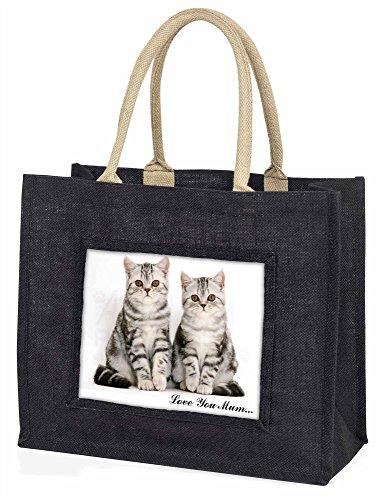 Advanta Silber gestromt Love You Mum Große Einkaufstasche/Weihnachtsgeschenk, Jute, schwarz, 42x 34,5x 2cm
