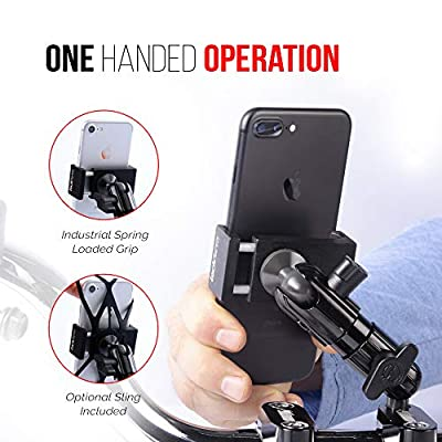 M8 Bar Clamp Motorcycle Phone Mount - TACKFORM Enduro Series - Perfect for Handlebar Clamp Bolts. All Metal Construction. Works with most all motorcycles and dirt bikes, with M8 handlebar bolt screws.