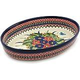 Polish Pottery Oval Baker 12-inch Spring Splendor UNIKAT