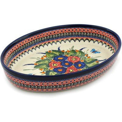 Polish Pottery Oval Baker 12-inch Spring Splendor UNIKAT by Polmedia Polish Pottery