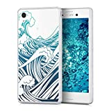 kwmobile Crystal TPU Silicone Case for Sony Xperia M4 Aqua in Design waves blue dark blue transparent