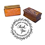Thank You Round Wedding Invitation Stamp Custom Wood Mounted Rubber Stamp
