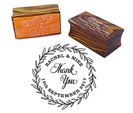 Thank You Round Wedding Invitation Stamp Custom Wood Mounted Rubber Stamp Printtoo