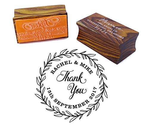 Thank You Round Wedding Invitation Stamp Custom Wood Mounted Rubber Stamp ()