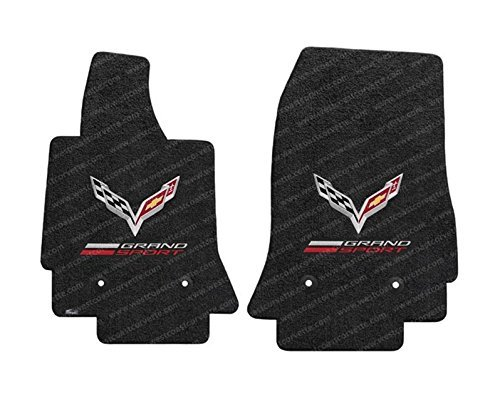 (Corvette Grand Sport w/ Crossed Flags Floor Mats - Lloyds Mats : Fits C7 Grand Sport - Jet Black)
