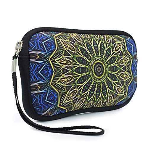 Unisex Neoprene Wristlet Wallet Clutch Purse, Coin Pouch, Pencil Bag, Cosmetic Bag, Bohemian Blue & Gold Mandala Print, 7