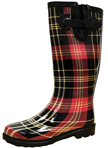 (Cambridge Select Women's Pattern Print Colorful Waterproof Welly Rain Boots,8 M US,Red/Black Plaid)