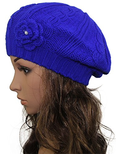 Blue Crochet Flower (MINAKOLIFE Women Crochet Braided Knit Flower Beret Baggy Beanie Ski Cap Hat (Blue))