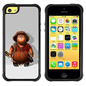 Fuerte Suave TPU GEL Caso Carcasa de Protección Funda para Apple Iphone 5C / Business Style Cartoon Character Boy Caveman