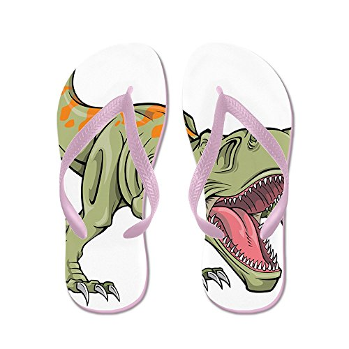 Cafepress Skrikande Dinosaurie - Flip Flops, Roliga Rem Sandaler, Strand Sandaler Rosa