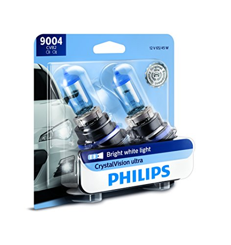 (Philips 9004 CrystalVision Ultra Upgrade Bright White Headlight Bulb, 2 Pack)