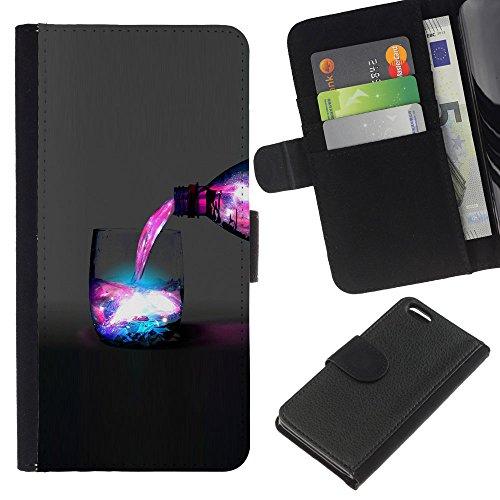 Funny Phone Case // Cuir Portefeuille Housse de protection Étui Leather Wallet Protective Case pour Apple Iphone 5C /Galaxy Espace Boisson/