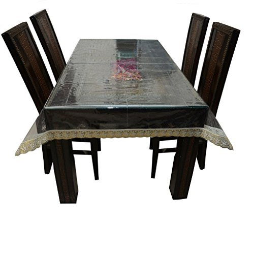 - Kuber Industries Transparent Dining Table Cover 6 Seater 6090 Inches (Golden Lace)