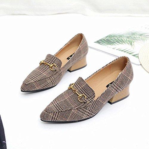 CXQ-Talons QIN&X Loisirs femmes Télévision Tête Ronde Chaussures bouche peu profondes,Black,38