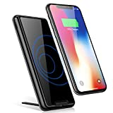 Portable Charger Power Bank, HTGK 10000mAh Qi Wireless Charger with Kickstand External Battery Pack 2 in 1 for iPhone X, iPhone 8/8Plus, Samsung Galaxy S6/7/8 and More (Black)